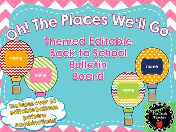 "Back to School ""Oh! The Places"" Themed EDITABLE Bulletin Board"