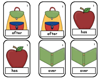 Back to School Old Maid-1st Grade Sight Word Game