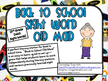 Back to School Old Maid-3rd Grade Sight Word Game