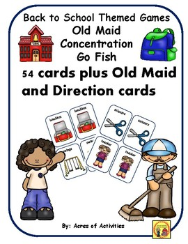 Back to School Old Maid, Go Fish and Concentration