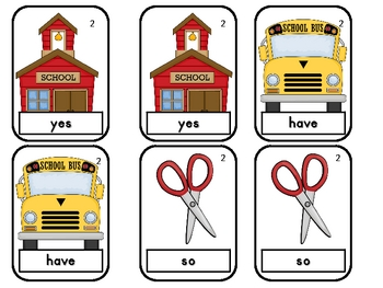 Back to School Old Maid--Primer Sight Word Game