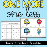Back to School One Less, One More Math Center Freebie