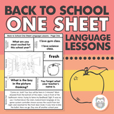 Back to School One Sheet Language Lessons - No Prep Speech Therapy Printables