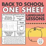 Back to School One Sheet Language Lessons - No Prep Speech