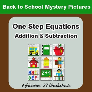 Back to School: One-Step Equations (Addition & Subtraction) Math Mystery Pictures