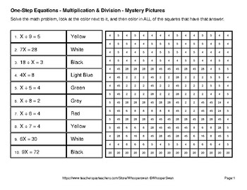 Back to School: One Step Equations: Multiplication & Division - Mystery Pictures
