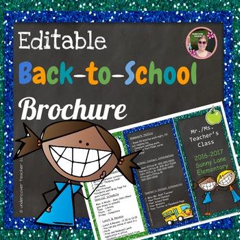 Back to School Open House Blue Glitter {Editable} Brochure