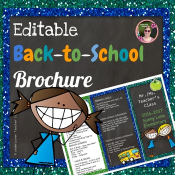 Back to School Open House Blue Glitter {Editable} Brochure