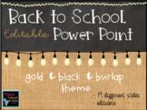 Open House & Back to School Night Burlap Chalkboard Editab