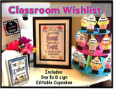 Back to School/ Open House Classroom Wish List: Sweet Cupcake Theme