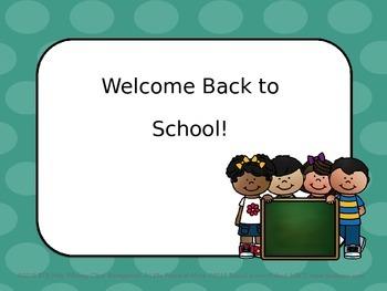 Back to School Editable Power Point (Teal Polka Dot)