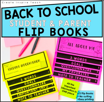 Back to School - Open House - Flip Book Forms for Parents + Students {Editable}