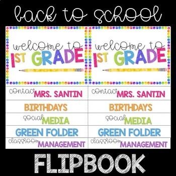 Back to School/Open House Flipbook - Watercolor Rainbow Dot EDITABLE