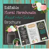 Back to School Open House Floral Farmhouse {Editable} Brochure