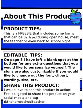 Back to School Open House Form {EDITABLE}