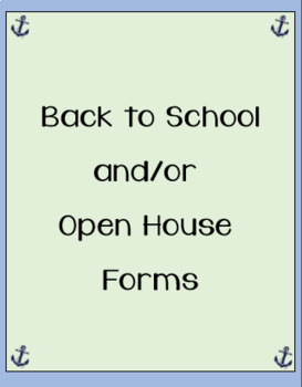 Back to School/Open House Forms