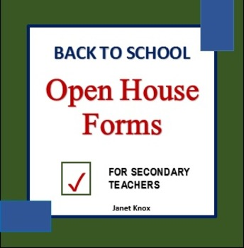 Back to School:  Open House Forms for Secondary Teachers
