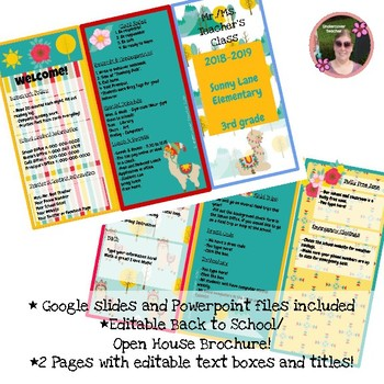 Back to School Open House Llama Bright Colors {Editable} Brochure