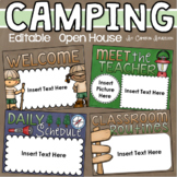 Back to School Open House Meet the Teacher Camping Camp Out Theme Editable
