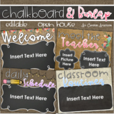 Back to School Open House Meet the Teacher Chalkboard and Burlap Theme Editable