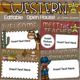 Back to School Open House Meet the Teacher Country Western Cowboy Theme Editable
