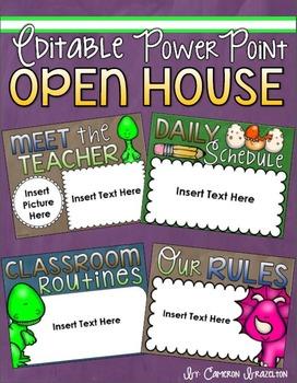 Back to School Open House Meet the Teacher Dinosaur Theme PowerPoint Editable