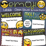 Back to School Open House Meet the Teacher Emoji Smiley Face Theme Editable