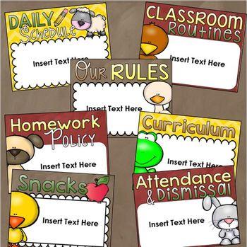 Back to School Open House Meet the Teacher Farm Animals PowerPoint Editable
