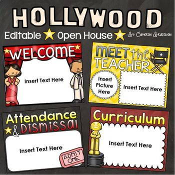 Back to School Open House Meet the Teacher Hollywood Movies PowerPoint Editable