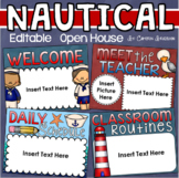 Back to School Open House Meet the Teacher Nautical Sailing Theme Editable