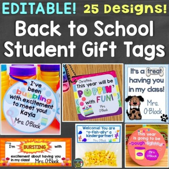 Back to School Student Gift Tags Open House Meet the Teacher Gift Tags Editable