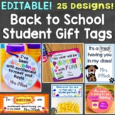 Back to School Gift Tags Editable Open House Meet the Teacher Student Gift Tags