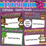 Back to School Open House Meet the Teacher Tropical Tiki Luau Theme Editable