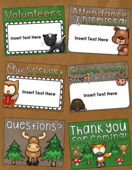 Back to School Open House Meet the Teacher Woodland Animals PowerPoint Editable