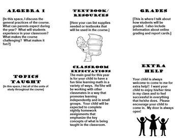 Back to School (Open House) Parent Brochure