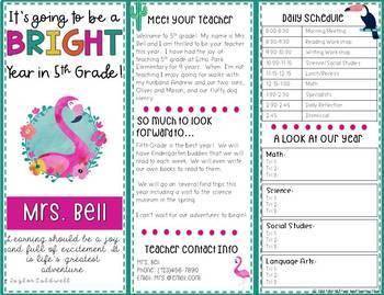 Back to School Night Forms - Open House & Meet the Teacher (Flamingo Theme)