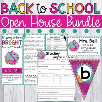 Back to School Night Forms - Open House & Meet the Teacher (Flamingo Theme)