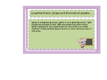 Back to School, Open House Parent Night Mice Power Point Template