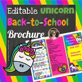 Back to School Open House Unicorn Bright Colors {Editable} Brochure