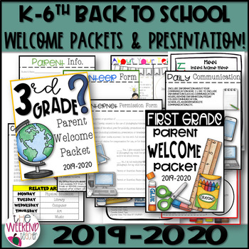 Back to School / Open House / Welcome Packet Grades K-6th EDITABLE 2018-2019