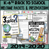 Back to School / Open House / Welcome Packet Grades K-6th