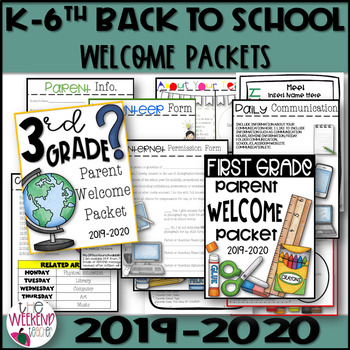 Editable Open House, Back to School, Welcome Parent Packet K-6th Grade 2018-2019
