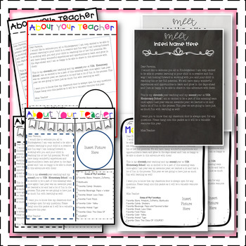 Back to School, Open House,Welcome Packet, & Digital Presentation K-6th EDITABLE