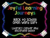 Back to School Open Word Sort - Part of Back to School Lit