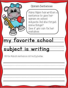 Back to School Opinion Sentence Writing