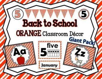 Classroom Orange Decor Pack