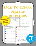 Back to School Order of Operations