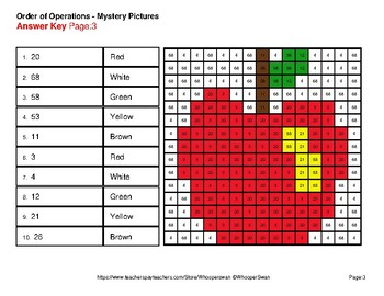 Back to School: Order of Operations - Color-By-Number Math Mystery Pictures