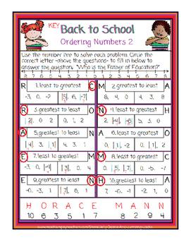 Back to School-Ordering Numbers 2
