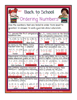 Back to School-Ordering Numbers